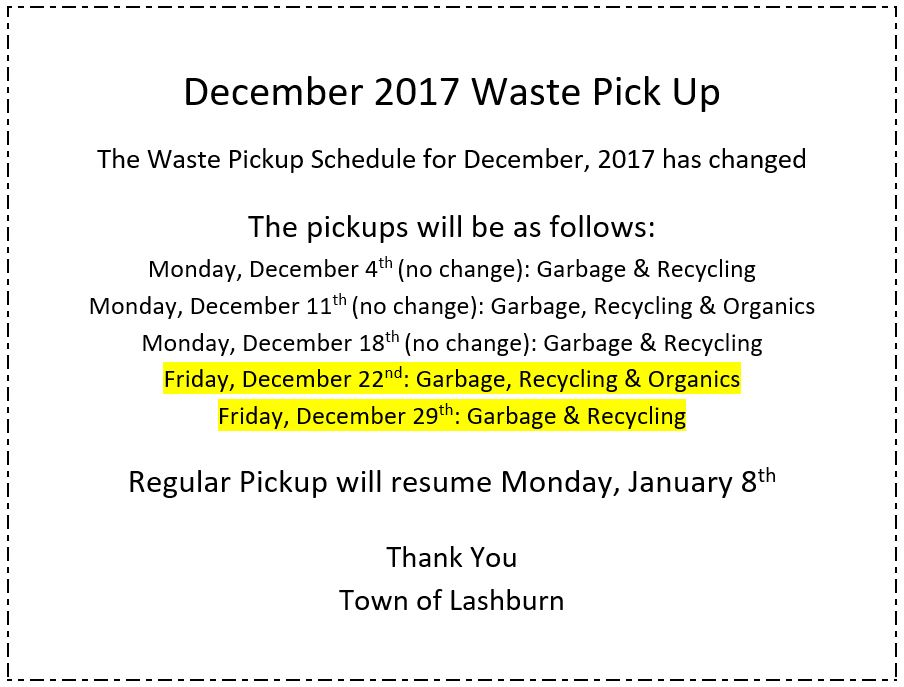Waste Pickup ** DATE CHANGE**